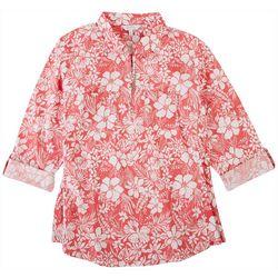 Coral Bay Petite Hibiscus Johnny Collar Shirt