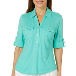 Coral Bay Petite Solid Buttoned Short Sleeve Top
