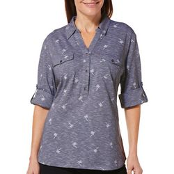 Coral Bay Petite Heathered Palm Tree Roll Tab Top