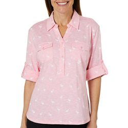 Coral Bay Petite Heathered Flamingo Roll Tab Top