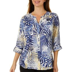 Coral Bay Petite Tropical Palm Print Top