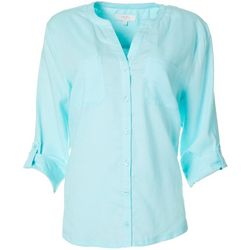 Coral Bay Petite Knit To Fit Solid Button Down Top