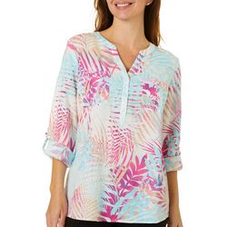 Coral Bay Petite Palm Leaf Print Button Down Top