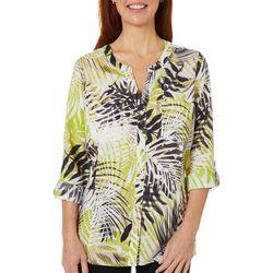 Coral Bay Petite Tropical Palm Print Top