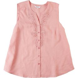 Coral Bay Womens Solid Textured Lace Tank Top With Buttons