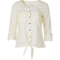 Petite Pineapple Tie Front Button Down Top