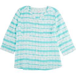 Petite Tie Dye Stripe Pocket Linen Top