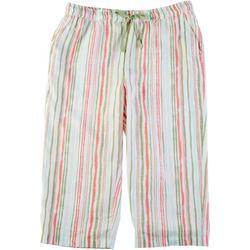 Petite Striped Print Linen Capris