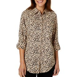 Coral Bay Petite Leopard Print Button Down Top