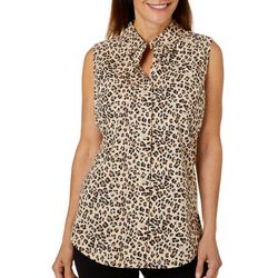 Coral Bay Petite Leopard Print Button Down Sleeveless