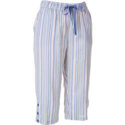Petite Striped Linen Capris