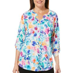 Coral Bay Petite Painted Floral Roll Tab Top