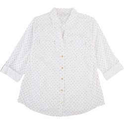Coral Bay Petite Polka Dot Pocketed Button Down Top
