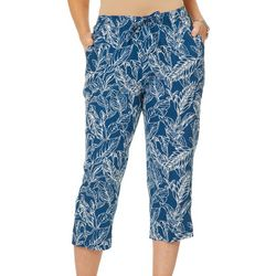 Coral Bay Petite Linen Tropical Palm Pull On Capris