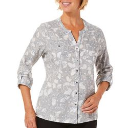 Coral Bay Petite Linen Butterfly Print Roll Tab Top