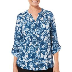 Coral Bay Petite Butterfly Button Down Roll Tab Top