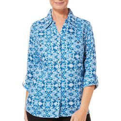 Coral Bay Petite Medallion Print Button Down Roll Tab Top