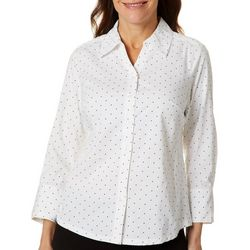 Coral Bay Petite Polka Dot Knit To Fit Button Down Top