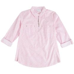 Coral Bay Petite Zip-Up Dotted Shirt
