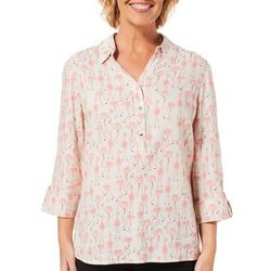 Coral Bay Petite Flamingo Button Placket Linen Top