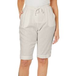 Coral Bay Petite Linen Button Hem Skimmer Shorts