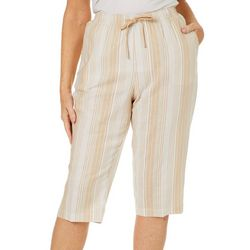 Coral Bay Petite Linen Striped Pull On Capris