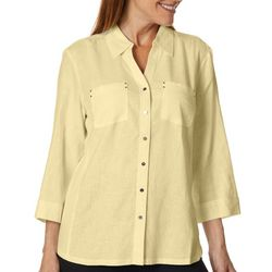 Coral Bay Petite Linen Solid Button Down Top