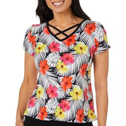 Coral Bay Petite Hawaiian Print Crisscross V-Neck Top