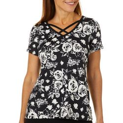 Coral Bay Petite Floral Rose Crisscross V-Neck Top