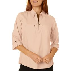 Coral Bay Petite Knit To Fit Zippered Neckline Top