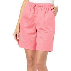 Coral Bay Petite Solid Drawstring Twill Shorts