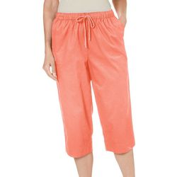 Coral Bay Petite Solid Twill Pull On Capris