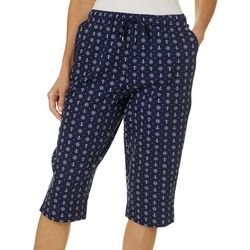 Coral Bay Petite Pull On Drawstring Nautical Print Capris