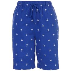 Coral Bay Petite All-Over Palm Tree Royal Shorts
