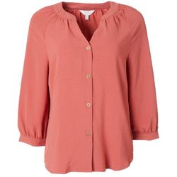 Coral Bay Petite Solid Button Down Split Neckline Top