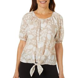 Coral Bay Petite Floral Scroll Print Button Front Top