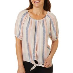 Coral Bay Petite Stripe Print Button Front Top