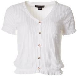 Sanctuary Petite Ribbed Solid Button Down V-Neck Top