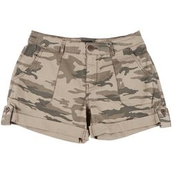 Sanctuary Petite Camo Poplin Cuffed Denim Shorts