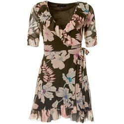 Sanctuary Womens Petite Floral Print Ruffle Wrap Dress