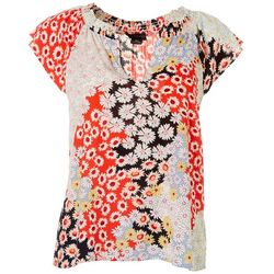 Sanctuary Womens Petite V-Neck Floral Top