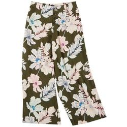 Petite Button Fly Floral Pants