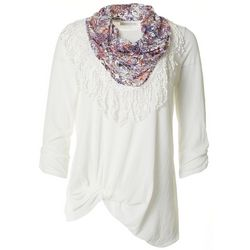 Notations Petite Textured Front Floral Twist Scarf Top