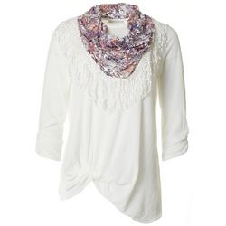 Petite Textured Front Floral Twist Scarf Top