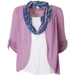 Petite Tank & Scarf Sweater Duet Top