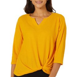 Notations Petite Textured Solid Twist Front Top