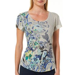 OneWorld Petite Wave Garden Jeweled Scoop Neck Top
