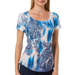 OneWorld Petite Floral Tie Dye Jeweled Scoop Neck Top