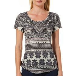 OneWorld Petite Oasis Beauty Jeweled Scoop Neck Top