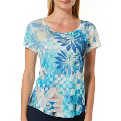 OneWorld Petite Checkered Botanic Jeweled Scoop Neck Top